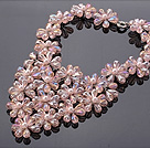 Pretty Multilayer Wired Pink Series Teardrop Crystal And Round Seashell Pearl Flower Necklace