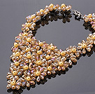 Pretty Multilayer Wired Champagne Teardrop Crystal And Round Seashell Pearl Flower Necklace