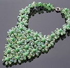 Pretty Multilayer Wired Green Series Teardrop Crystal And Round Seashell Pearl Flower Necklace
