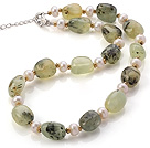 Fashion Natural 8-9mm White Freshwater Pearl And Prehnite Strand Necklace With Lobster Clasp