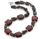 Wholesale Elegant Square Shape Red Jasper And Irregular Blister Black Pearl Strand Necklace