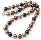 Popular 10mm Round Multi Color Seashell Beads Hand-Knotted Strand Necklace With Moonight Clasp