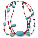 Nice Multi Strands Mixed Red Coral Crystal And Blue Turquoise Collar Necklace
