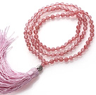 Wholesale Simple Long Style Round Cherry Quartz Beads Necklace with Buddha Head and Pink Tassel(can also be as bracelet)
