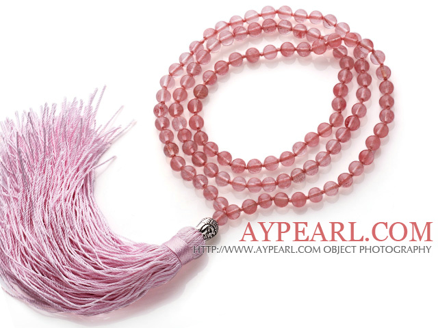 Simple Long Style Round Cherry Quartz Beads Necklace with Buddha Head and Pink Tassel(can also be as bracelet)