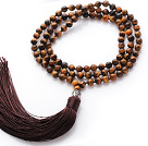 Wholesale Simple Long Style Round Tiger Eye Beads Necklace with Buddha Head and Brown Tassel(can also be as bracelet)