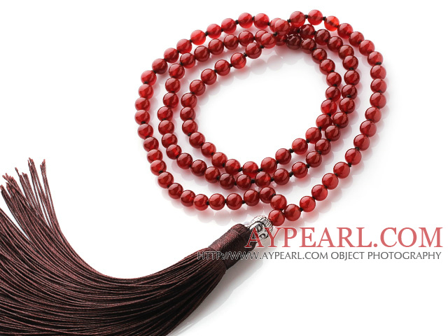 Simple Long Style Round Carnelian Beads Necklace with Buddha Head and Brown Tassel(can also be as bracelet)