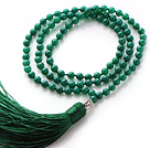 Simple Long Style Round Green Agate Beads Necklace with Buddha Head and Green Tassel(can also be as bracelet)