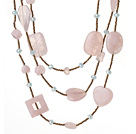 Wholesale Nice Long Style Irregular Shape Rose Quartz and Crystal Beads Necklace (Random Shape for Rose Quartz)