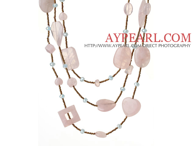 Nice Long Style Irregular Shape Rose Quartz and Crystal Beads Necklace (Random Shape for Rose Quartz)