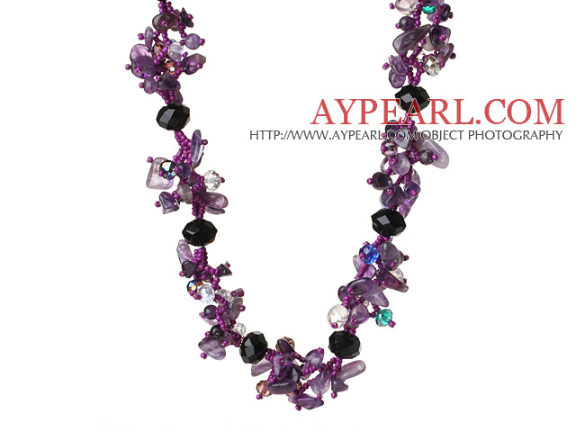 Newly Elegant Cluster Style Natural Amethyst and Crystal Beads Necklace with Magnetic Clasp