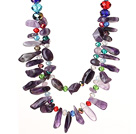 Elegant Style Natural Two Layer Amethyst and Multi Color Crystal Beads Party Necklace