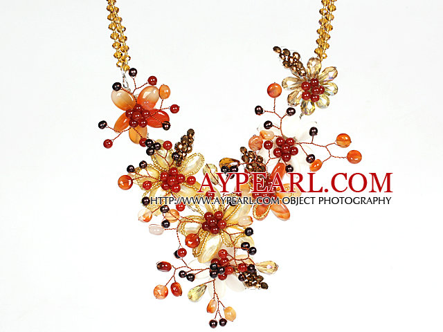 Amazing Gorgeous Carnelian Pearl Crystal and Shell Flower Party Necklace