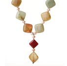 Wholesale Special Design Y Shape Rhombus Shape Three Colored Jade and Pink Pearl Necklace