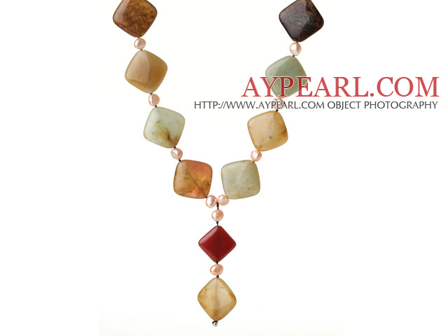 Special Design Y Shape Rhombus Shape Three Colored Jade and Pink Pearl Necklace