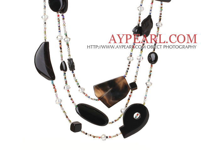 Beautiful Long Style Cool Irregular Shape Black Agate and Multi Color Crystal Beads Necklace (Random Shape for Agate)