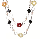 Wholesale Beautiful Long Style White Pearl Rhombus Shape Black Agate and Three Colored Jade Necklace
