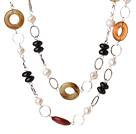 Wholesale Beautiful Long Style White Pearl Black Agate and Three Colored Jade Necklace
