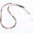 Natural Multi Color Tourmaline Chips Necklace with 925 Sterling Silver Clasp