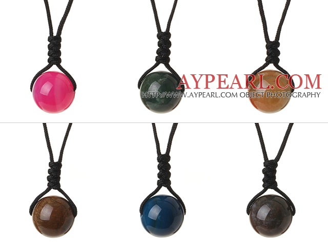 6 Pcs Simple Summer Design Multi Color Round Agate And Tiger Eye Beads Pendant Necklace with Adjustable Hand-Knitted Thread