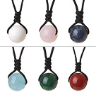 6 Pcs Simple Summer Design Multi Color Round Agate Rose Quartz White Porcelain Blue Topaz And Lapis Beads Pendant Necklace with Adjustable Hand-Knitted Thread