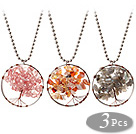 3 kpl Fashion Suuri Loop Wired Virkkaa Multi Color Multi Stone Chips Wishing Tree kaulakoru seostetut Chain