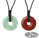 2 Pcs Simple Fashion Donut Shape Aventurine And Red Jasper Pendant Necklace With Adjustable Hand-Knitted Thread