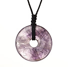 Beautiful Simple Design Donut Shape Amethyst Pendant Necklace With Adjustable Hand-Knitted Thread