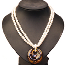 Elegant Pretty Double Strand Natural White Freshwater Pearl Necklace With Big Brown Colored Glaze Pendant