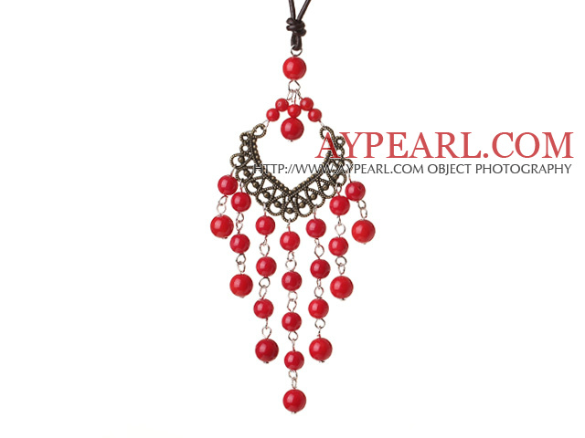 Vintage Style Chandelier Shape Red Coral Beads Pendant Necklace with Brown Leather