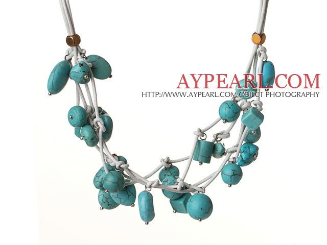 Vintage Style Multi Strands Burst Pattern Turquoise Leather Necklace