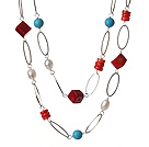Long Style Double Strand White Pearl Blue Turquoise Red Coral Necklace With Loop Alloyed Chain
