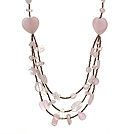 Wholesale Beautiful Heart Shape And Irregular Shape Rose Quartz Three Layer Long Necklace(Random Shape)
