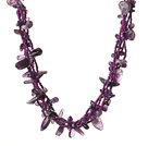 Wholesale Trendy Style Multi Strands Natural Amethyst Twisted Necklace With Magnetic Clasp