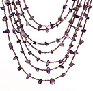 Vakker Fashion Multi Layer Amethyst Partiet Necklace