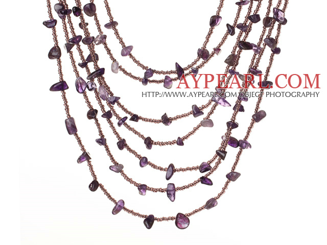 Beautiful Fashion Multi Layer Amethyst Party Necklace