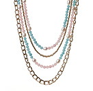 Wholesale Gorgeous Fashion Multi Layer Rose Quartz White Pearl And Cyanite Party Necklace With Golden Alloyed Chain