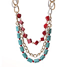 Wholesale Fantastic Fashion Cube Shape Red Coral Cylinder Shape Turquoise And White Pearl Multi Layer Necklace With Alloyed Chain