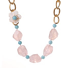 Wholesale Beautiful Irregular Shape Rose Quartz Cyanite Beads White Pearl Shell Flower Party Necklace