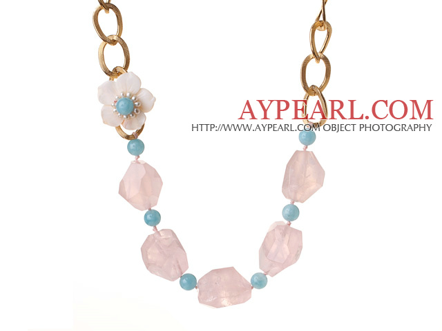 Beautiful Irregular Shape Rose Quartz Cyanite Beads White Pearl Shell Flower Party Necklace