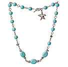 Fashion Single Strand Burst Pattern Turquoise Necklace With Starfish Charm
