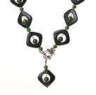 Wholesale Vintage Style Green Jade And Green Aventurine Y shape Necklace With Toggle Clasp