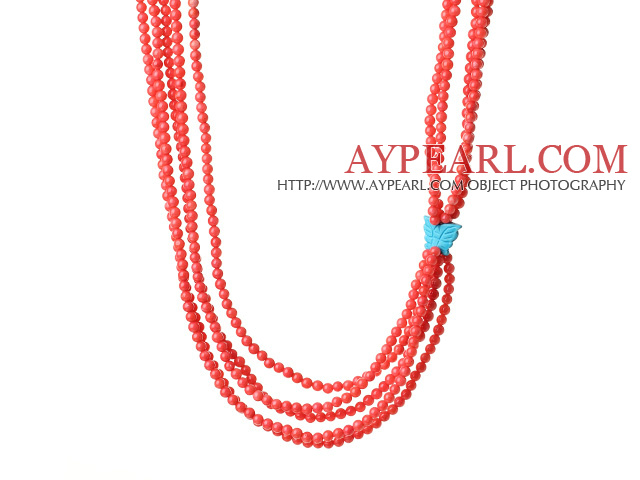 Fashion Multi Layer Orange Coral Beads Necklace With Butterfly Turquoise Charm