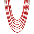 Graceful Multi Layer Round Coral Beads And White Pearl Party Necklace