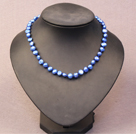 Simple Trendy Style Natural Blue Potato Pearl Necklace