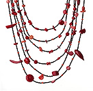 Fashion Multi Layer Irregular Shape Red Coral Party Necklace
