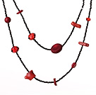 Fashion Long Style Irregular Shape Red Coral and Crystal Necklace