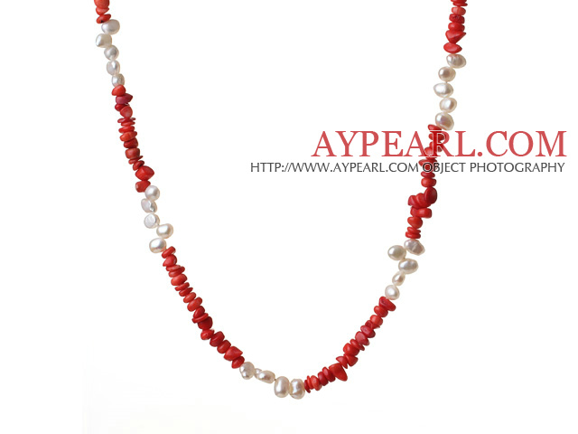 Fashion Long Style Irregular Shape Red Coral And Natural White Pearl Neckalce