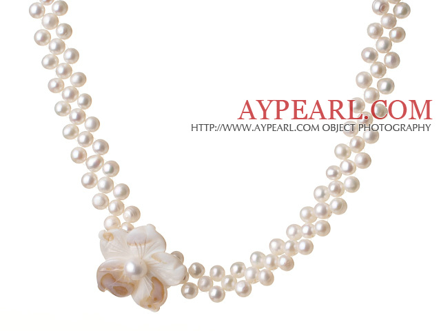 Elegant Natural White Freshwater Pearl And Shell Flower Party Choker Neckalce