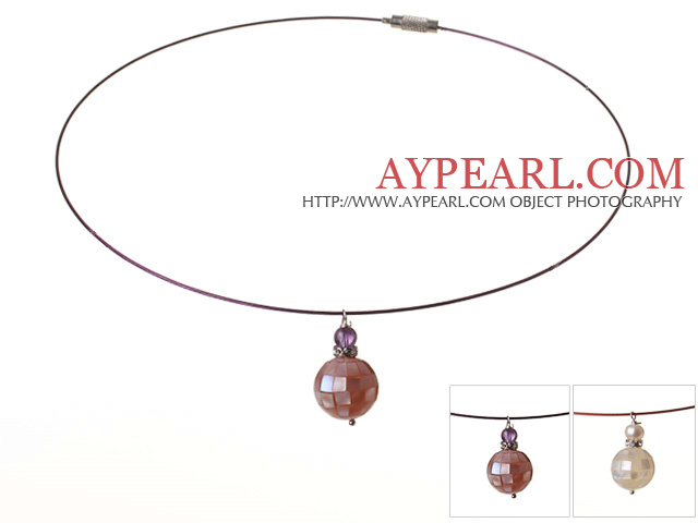 2 Pcs Simple Style Mosaic Amethyst And Pearl Pendant Necklace